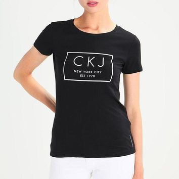 Calvin Klein Jeans Women Casual Short Sleeve Tunic Shirt Top Blouse