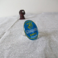 Paper Art Ring, Chiquita Banana Sticker, Silver Adjustable Jewelry
