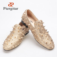 Gold Spikes and Diamonds Men's Glitter Leather Loafer