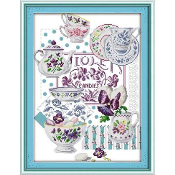 Teacups - Counted Cross Stitch Kit