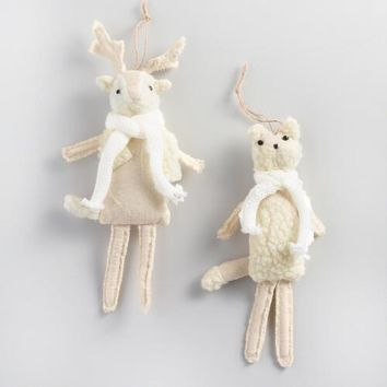 Fabric Woolly Deer and Fox Ornaments Set of 2