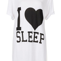 I Heart Sleep Slogan PJ Tee - Lingerie & Nightwear - Clothing - Topshop