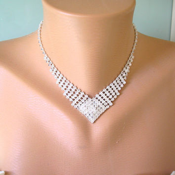 Rhinestone Necklace, Backdrop, Choker, Vintage, Pearl, Sparkly, Bridal Jewelry, Christmas Party Necklace, Prom, Cocktail, Diamante Choker