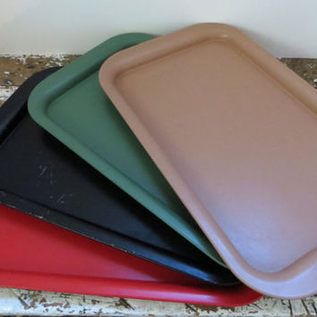 Vintage Metal Trays Serving Trays Red, Black, Green, and Brown Serving Platter Drink Tray