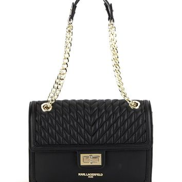KARL LAGERFELD PARIS Agyness Quilted Chain Strap Shoulder Bag | Dillards