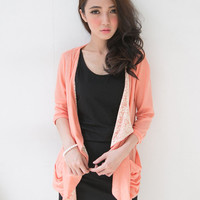 Spliced Lace Light Knit Cardigan - Mexy  - New fashion clothing & accessories for smaller size women like you - Mexy Shop