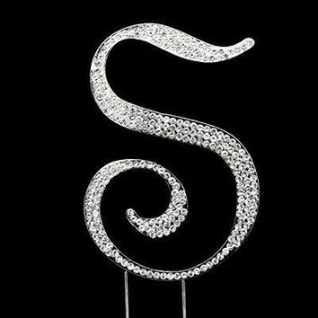 Silver Letter Initial S Birthday Crystal Rhinestone Cake Topper S Party Monogram