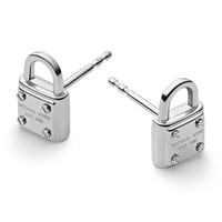 Padlock Logo Stud Earrings, Silver Color - Michael Kors - Silver