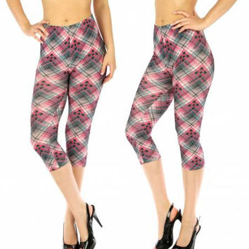 Blend Capri Leggings Checkered Pink/Blue in M/L and XL/XXL