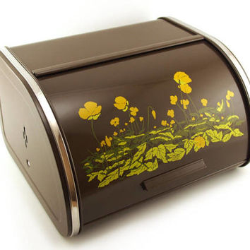 Retro Brabantia Bread Box / Roll Top Bread bin. Chocolate brown 70's Dutch Kitchenware. Yellow orange buttercup floral pattern.