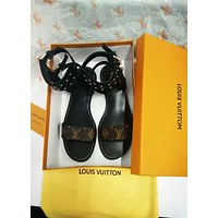 LV Louis Vuitton Classic Trendy Fashion High Sandals F/A black