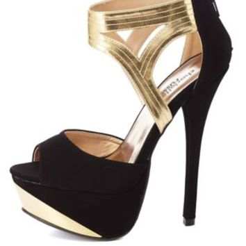 Metallic Cut-Out Peep Toe Platform Heels by Charlotte Russe