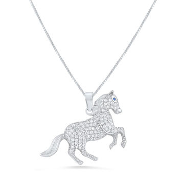 Sterling Silver Cz Running Stallion Horse Necklace 18""