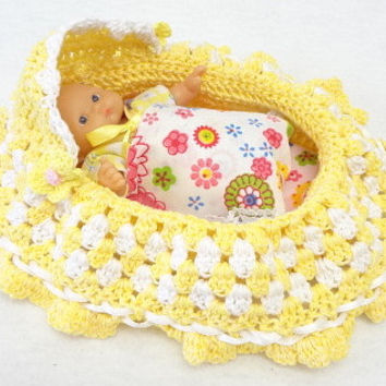 crochet, cradle purse, itty bitty baby doll, church purse, drawstring bag,  BG#3