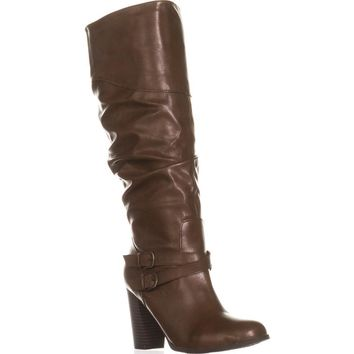 SC35 Sophiie Knee High Slouch Boots, Cognac, 7.5 US