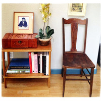 Vintage Open Back Rich Brown Wooden Chair. Convo Us for SHIPPING info