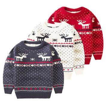 Children Christmas Snowman Sweaters Baby Boys Girls Cartoon Knitted Sweater Autumn Winter lovely Pullover Sweater Kids Clothing