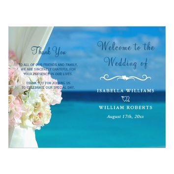 Elegant Floral Ocean Beach Summer Wedding Program