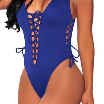 Women V Neck Lace up High Cut One Piece Swimsuit