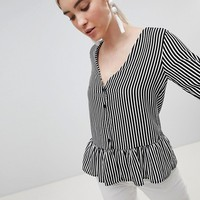 Boohoo Stripe Frill Hem Blouse at asos.com