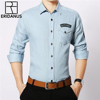 Autumn Denim Shirt Long Sleeve Casual Slim Fit Washed Men's Shirts Social Cowboy Letter Design Clothes