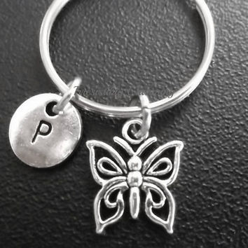 Sale.... Small butterfly keyring, keychain, bag charm, purse charm, monogram personalized custom gifts under 10 item No.681