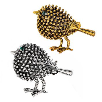Antique Silver Plated Cute Bird Brooches Pins for Women Kids Gifts Alloy Crystal Broches Pins Lapel Pins Collar Women Jewelry