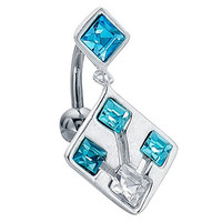 Modern Aqua Sparkle Square Reverse Dangle Belly Ring Chain