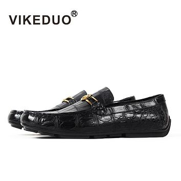 Handmade Luxury Fashion Party Casual Designer Moccasins Alligator Genuine Leather Crocodile Skin Men Shoes
