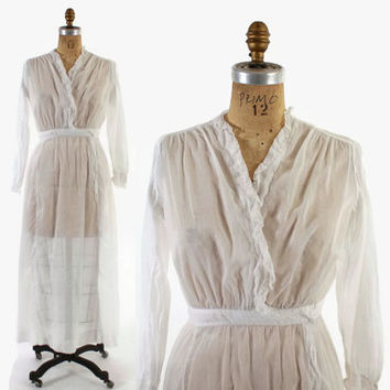 Vintage EDWARDIAN Tea DRESS / 1910s White Cotton Voile & Lace Day Dress S