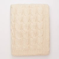 Cream Ivory Big Cable Knit Throw