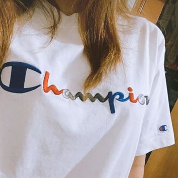 Champion Fashion Women Men Casual Classic Gradient Color Embroidery Short Sleeve Round Collar T-Shirt Top White I12489-1