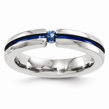 Men's Wedding Band Edward Mirell Titanium Sapphire & Blue Anodized Grooved 4mm Band