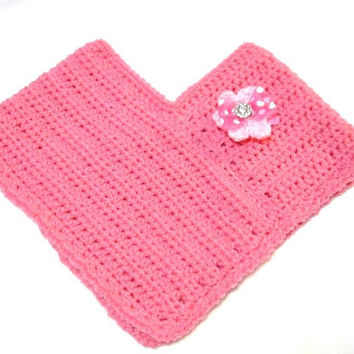 Girl's Crochet Pink Poncho with Pink Flower Pin, Pink Toddler Poncho, Sizes 18 Months to 3 Toddler, Small Girls Fashion