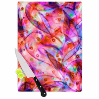 "Ebi Emporium ""Flourish - Pink"" Purple Magenta Cutting Board"