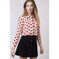 White Heart Print Turn-Down Collar Long Sleeve Shirts