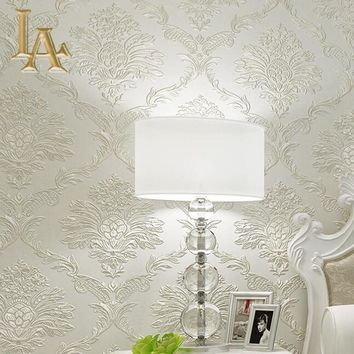 European Simple Luxury Homes Decor 3D Damask Wallpaper For Walls Beige Embossed Wall paper Rolls For Bedroom Living room