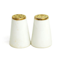 Mid-Century White Gold Salt & Pepper Shakers, Miniature Size - Porcelain, Made in Japan - Minimalist Vintage Home Kitchen