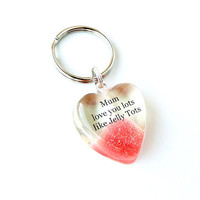Mum Jelly Tot Keyring - Love You Lots Like Jelly Tots Words, Red Sweet Candy Typography, Mother's Day Birthday Gift, Jelly Tot Gift (017)