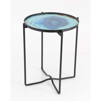 Benzara Sturdy Iron Glass Accent Table Blue