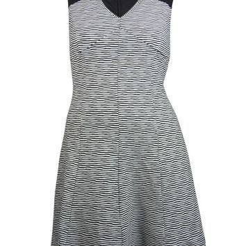 Guess LA Women's Doris V-neck Ribbed Striped Dress