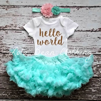 Baby Girl Take Home Outfit Newborn Baby Girl Hello World Onesuit Petti Skirt Bloomers Pink & Mint Headband Set