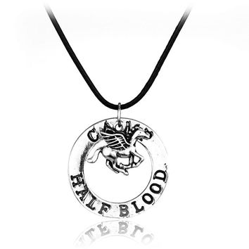 Percy Jackson necklace camp half blood fly horse pendant vintage jewelry leather chain Splicing Necklace Accessories Men Gift