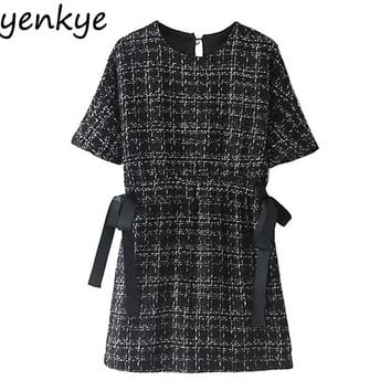 Vintage Women Tweed Dress Short Sleeve O Neck With Belt Mini Casual Black Beading Plaid Dresses