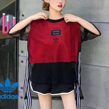 Adidas Casual Simple Pattern Letter Print Stripe Hollow Middle Sleeve Solid Color  Fashion Shirt Top Tee