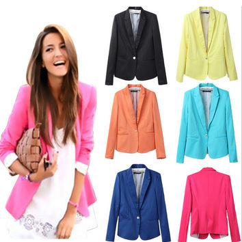 Za new hot stylish and comfortable women's Blazers Candy color lined with striped Z suit
