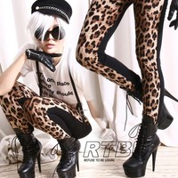 RTBU 1/2 Half Leopard Black Ultra Long Straight Leg Unisex Punk Cotton Legging