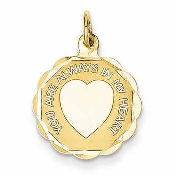 14 Yellow Gold You Are Always In My Heart Charm