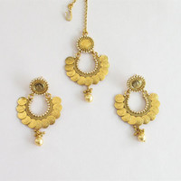 Gold Coin Indian Earrings Tikka Jewelry Online/South Indian Earrings/Ethnic Temple Jewelry/Traditional Long Earrings/Chand Bali
