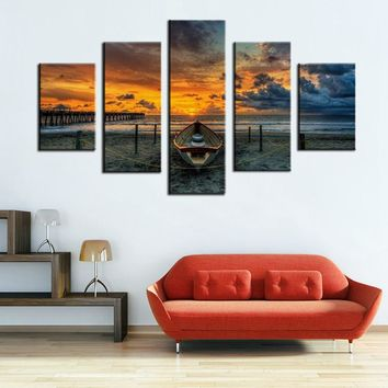 5 Piece sunset Seaview boat Canvas Painting Large Print Art  for Living Room Wall art Home Decoration dropship is welcomed